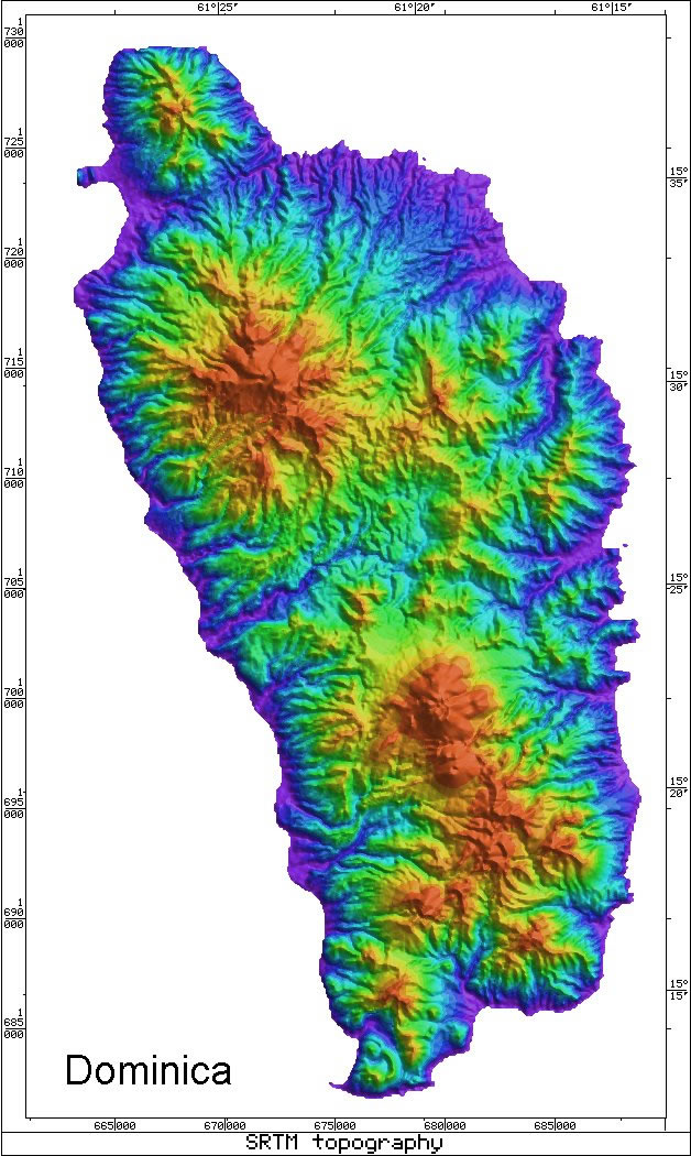 Caribbean Volcanoes Dominica Radar map