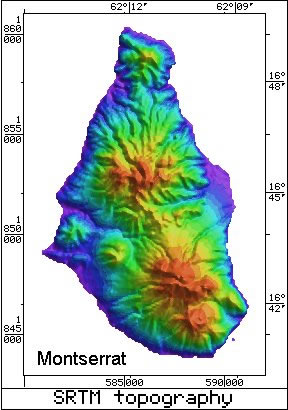 Radar Topography Map of Montserrat