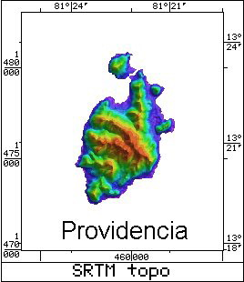 Radar Topography Map of Providencia